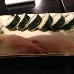 Albacore and crab sushi