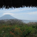 The view of Concepción Volcano from the reception area.