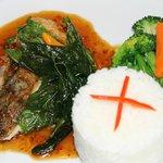 Deep fried crispy fish with basil chili sauce