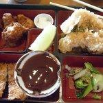 Shrimp tempura, deep fried scallops and Chicken Katsu