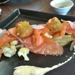Home-smoked Salmon on warm pickled vegetable & fetta croquettes