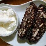 mosaic cake con gelato di vaniglia