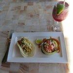 Las Casitas: Lobster taco, shrimp ceviche, hibiscus margarita