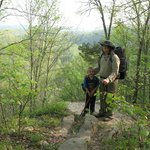 My sons on an overlook north of Indian Creek Shelter