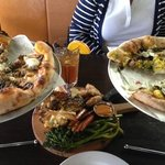 Sausage pizza, roasted veg, brussell sprout pizza