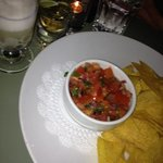 Lime margarita, house tequila shot, chips and pico de gallo