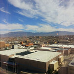 Great view of the city and the Sandia Mountains.
