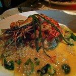 Black sea bass with crawfish & giant prawn