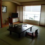 Japanese style room with a sea view