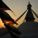 """Stupa at sunset from """"Cafe Stupa"""""""