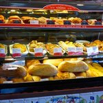 Display of breads and French savories.
