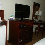 Microwave, fridge, TV, Desk