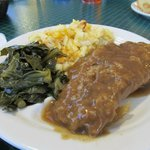 Country Style Steak with collards and mac and cheese
