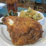 Fried chicken with fried oka and collards