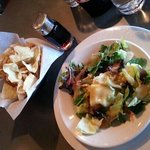 complimentary salad and fried wontons
