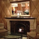 the welcoming fire in the hotel lobby