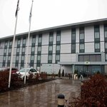 Outside the Holiday Inn, Amesbury on a rainy day.