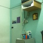 tv, hot water, outlet for charging available