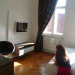 belle pièce à vivre, très lumineuse et joliment décorée les éléments hifi son