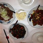 shredded pork with spring onions, egg fried rice, fragrant beef with chillies and sea-spiced veg