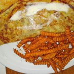 Mushroom crepe & sweet potato fries