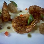 Shrimp, crispy risotto