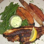 Blackened catfish with sweet  potato wedges and green beans