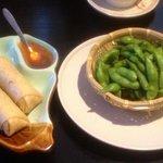 Spring Rolls & Edamame Beans