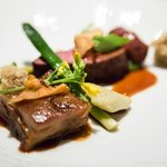 Lamb Loin and Belly, Artichoke, green garlic, vadouvan, olive