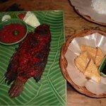 Gurami Bakar ( BBQ fish) & Tauhoo Goreng ( fried soy bean cake)