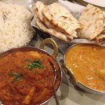 Vindaloo and Korma with regular and cheese naan