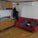 kitchen corner and sofa
