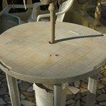 damaged poolside table