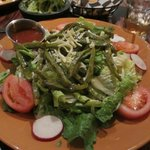 Nopales salad (the green things are sliced cactus paddles)
