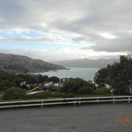 View of Akaroa bay from TV room