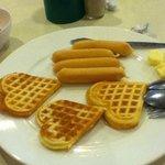 Heart-shaped waffles breakfast (Taste great with great shape)