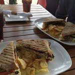 mortadella and chicken pesto paninis