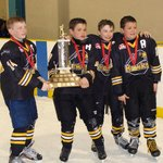 Powassan Hawks Leaders accepting the NOHA Stanley Cup