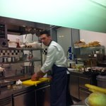 Open view kitchen and Chef Stefano Grandi