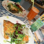 quiches, salads and fresh 'ginger spice' juice