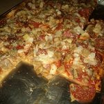 Pirrone's Supreme Pizza (sausage, pepperoni, bacon, mushrooms and onions) - St. Louis Style