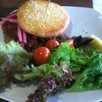 Hemp Nut Burger with side salad