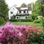 House from bottom of garden in spring
