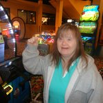 Aunt with Down Syndrome enjoying the arcade