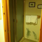 toilet and shower closet. cheap stall and floor, but very clean!! northwest room