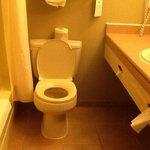 tiny bathroom in standard room