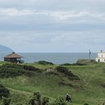 View across Turnberry Golf Course towards Ailsa Craig and the Lighthouse