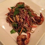 soba noodle salad with blackened shrimp