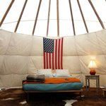 Inside the tee pee.