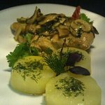 chicken breast and fondant potatoe.